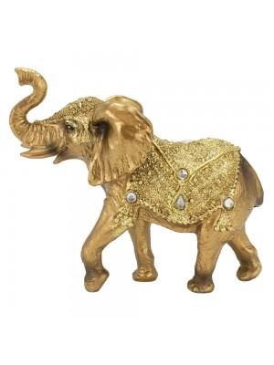 Elefante Dourado Trompa Levantada 13.5cm - Resina Animais