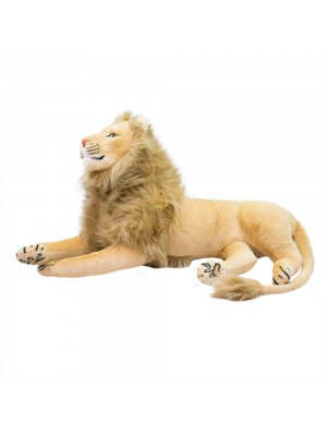 Leão Realista Deitado 103cm - Pelúcia Enfeite