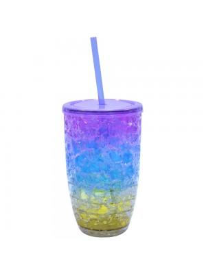 Copo com canudo gel colorido congelante 500ml