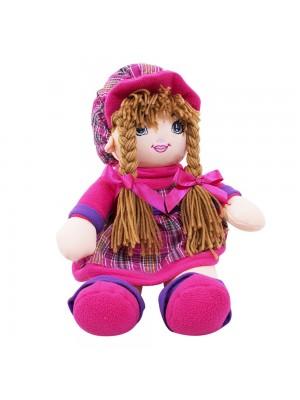 Boneca Rosa E Roxo Xadrez Com Chapéu 48cm