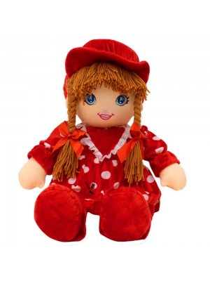 Boneca Vermelho Círculos Com Chapéu 50cm