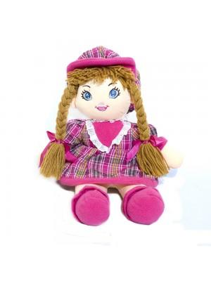 Boneca Rosa Xadrez Com Chapéu 48cm