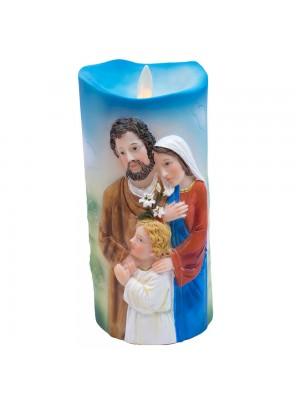 Sagrada Família Luminária Vela 17.5cm - Enfeite Resina