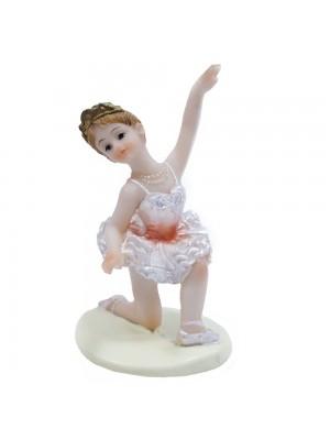 Bailarina Laranja Agachada Braço Esquerdo Levantado 9cm - Enfeite Resina