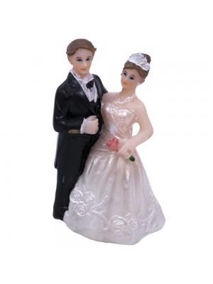 Casal Noivos Noiva Segurando Uma Flor 6.5cm