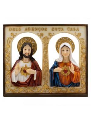 Quadro Sagrado Coração De Jesus e Maria 25.5x30cm - Enfeite Resina