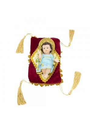 Menino Jesus Roupa Azul Na Almofada 15cm - Enfeite Resina