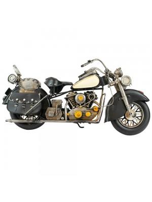 Motocicleta Preta 20x40x12cm Estilo Retrô - Vintage