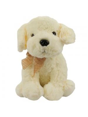 Cachorro Sentado Orelhas Branca 33cm - Pelúcia
