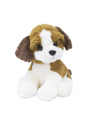Cachorro Filhote Sentado Marrom Com Branco 29cm - Pelúcia