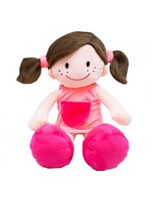 Boneca Sorridente Roupa Rosa 44cm