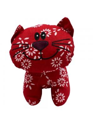 Gato Vermelho Tecido Flores 22cm - Bicho Tecido