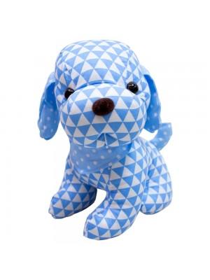 Cachorro Sentado Pano Azul 29cm - Pelúcia