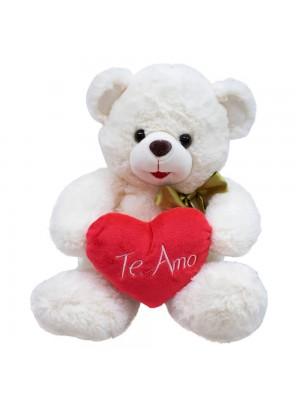Urso Branco Coração Te Amo 28cm - Pelúcia