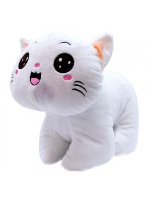 Gato Branco Olhos Abertos 26cm - Pelúcia
