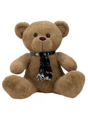 Urso Marrom Sentado Cachecol 31cm - Pelúcia