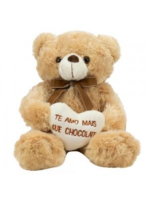 Urso Sentado Te Amo Mais Que Chocolate 29cm - Pelúcia