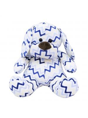 Cachorro Sentado Listras Azul 35cm - Pelúcia
