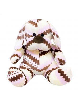 Cachorro Sentado Listras Marrom 35cm - Pelúcia