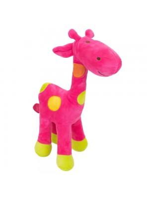 Girafa Rosa Com Pintas Coloridas 34cm - Pelúcia