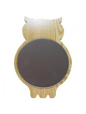 Espelho Formato Coruja Madeira 26cm