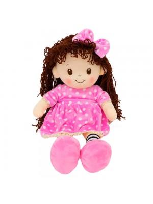 Boneca Vestido Rosa Cabelo Cacheado 48cm