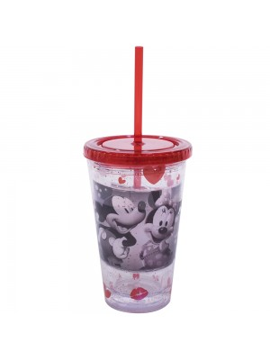 COPO COM CANUDO MICKEY & MINNIE FOTO 450ML - DISNEY