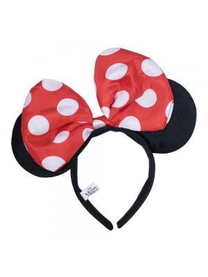 Tiara Com Orelhas Minnie E Laço Vermelho Com Pontos Brancos - Disney