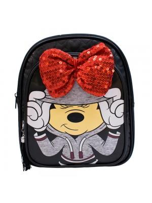 Mochila Preta Laço Minnie 26x30x10cm - Disney