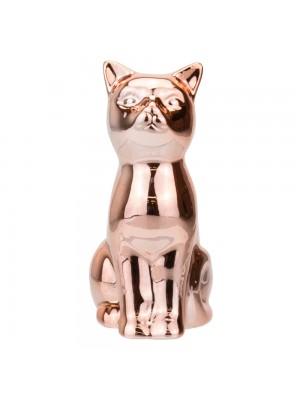 Gato Cerâmica Rosê Sentado 11.5cm