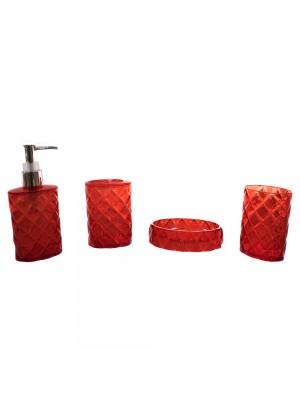Jg Utensílios Vermelhos Para Banheiro