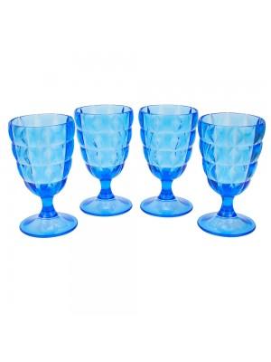Jogo 4 Taças Azuis Acrílico 250ml