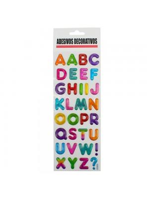 Adesivo Decorativo Letras Alfabeto Colorido 30.5x10cm