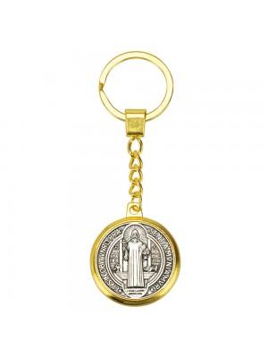 Chaveiro Dourado Medalha São Bento Plano 3x3cm
