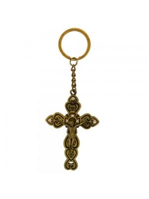 Chaveiro Crucifixo Dourado 13cm