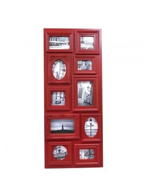 Multi Porta Retrato Retangular Vermelho 10 Fotos Tamanhos Variados