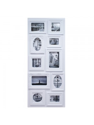 Multi Porta Retrato Retangular Branco 10 Fotos Tamanhos Variados