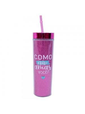 Copo Canudo Cilindro Pink 450ml - Projeto Kiwi
