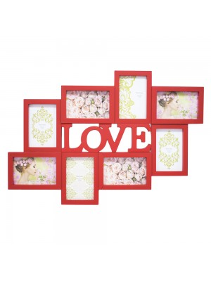 Multi Porta Retrato Love Vermelho 8 Fotos 10X15cm
