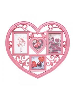 Multi porta retrato coração Rosa 4 fotos