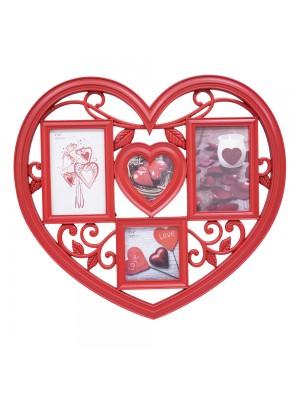 Multi porta retrato coração vermelho 4 fotos