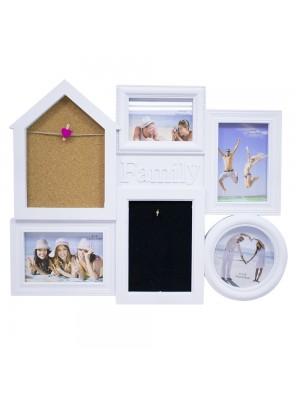 Multi porta retrato casa branco 5 fotos + gancho