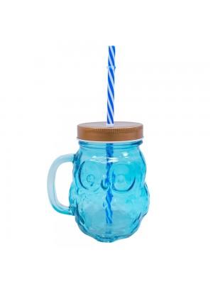 Copo Vidro Azul Coruja 450ml
