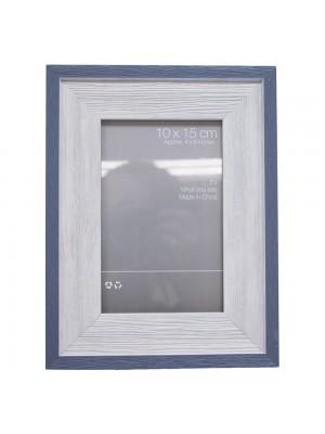 Porta Retrato Borda Azul 1 Foto 10X15cm - Porta Retrato