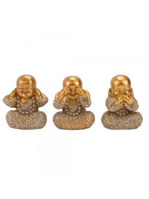 Jogo 3 Monges Não ouço Não Falo Não vejo 4.5cm