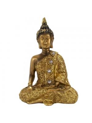 Buda Dourado Bhumisparsha Mudra 12cm