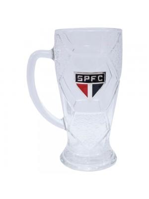 Caneca Vidro Bola Futebol 630ml - SPFC