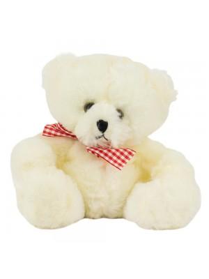 Urso Branco Laço Sentado 18cm - Pelúcia