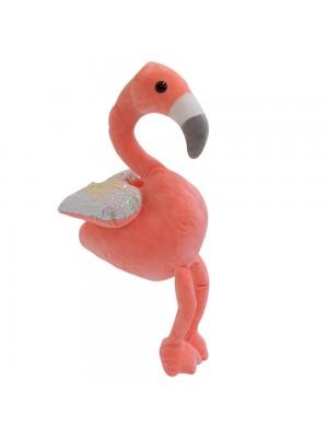 Flamingo Rosa Asas Lantejoulas 32cm - Pelúcia