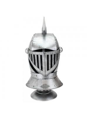 Enfeite Capacete Cavaleiro Medieval Prateado 47x25x22cm